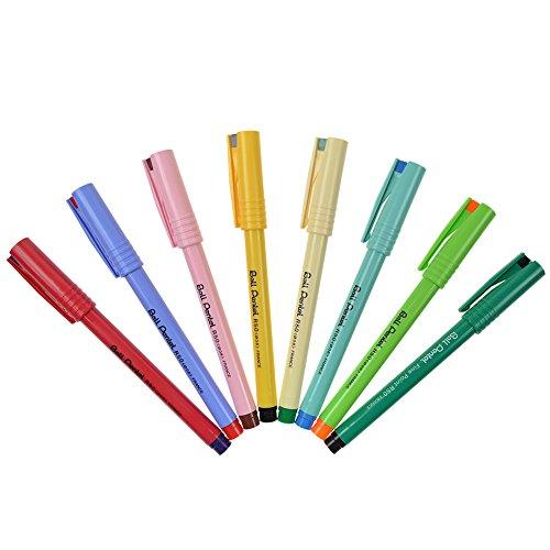 Pentel R50 Tintenroller - 8 Stück - Retro Edition - Tinte Schwarz, Rot, Blau, Grün, Orange, Rosa, Lila