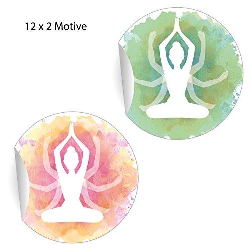 24 schöne Yoga Aufkleber in 2 Farben, rosa grün, MATTE universal Papieraufkleber für Geschenke, Etiketten für Tischdeko, Pakete, Briefe und mehr (ø 45mm