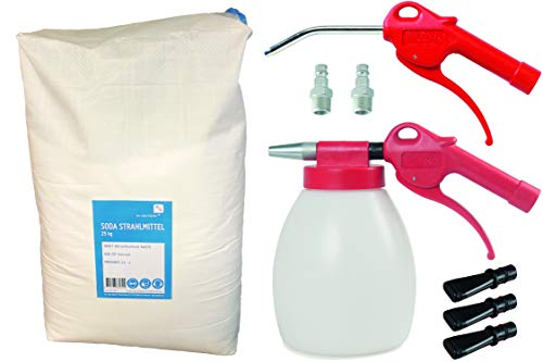 JWL Soda Strahlpistole Sodablaster im Set mit Druckluft-Ausblaspistole und 25 kg Soda Strahlmittel