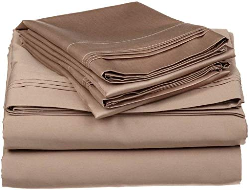 4 PC Sheet Set Cotton, 6' Deep Pocket 400 Thread Count, RV- Trucks, Campers, Airstream, Bus, Boat and motorhomes Easy to fit in RV-Mattress, RV Full 53'X75' Taupe Solid