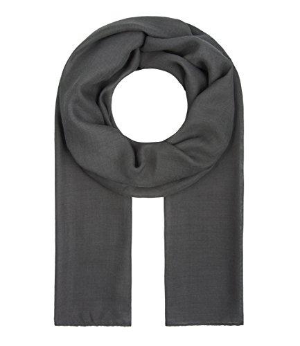 Majea Tuch Lima schmal geschnittenes Damen-Halstuch leicht uni einfarbig dünn unifarben Schal weich Sommerschal Übergangsschal (dunkelgrau)