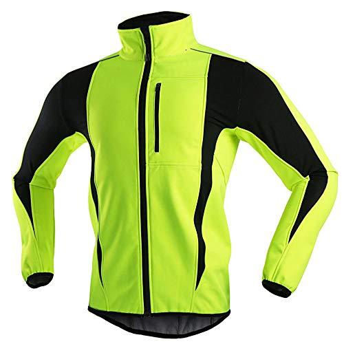 Chaqueta De Ciclismo para Mujer Invierno Térmico, Impermeable A Prueba De Viento Calentamiento Transpirable Reflectante Cortavientos para Mujer para Correr Al Aire Libre Ciclismo MTB,Verde,S