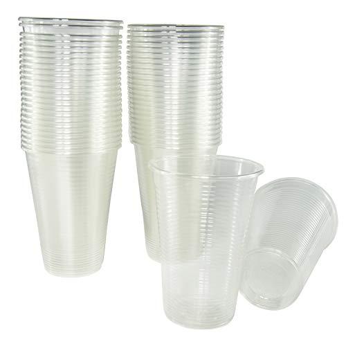 50 vasos de 220 ml. Vasos biodegradables de plástico orgánico reutilizables. Vasos PLA transparentes para bebidas frías, Vasos ecológicos reutilizables para fiestas, campings, eventos y cumpleaños.