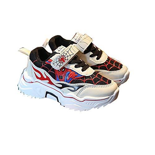 WEIR Zapatillas de Deporte para niños Spiderman Antideslizantes Antideslizantes Zapatillas para Correr al Aire Libre,Red-30EU