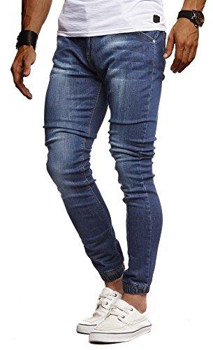 Leif Nelson Herren Jeans Hose Slim Fit Denim Blaue graue Lange Jeanshose für Männer Coole Jungen weiße Stretch Freizeithose Schwarze Cargo Chino Sommer Winter Basic LN9170 Blau W30/L30