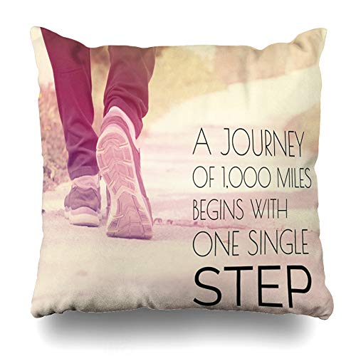 Ahawoso Throw Pillow Cover Square 18x18 Jogger Travel Inspirational Quote On Blurred Road Pair Journey Vintage Health Fitness Run Athlete Wellness Design Pillowcase Home Decor Cushion Case