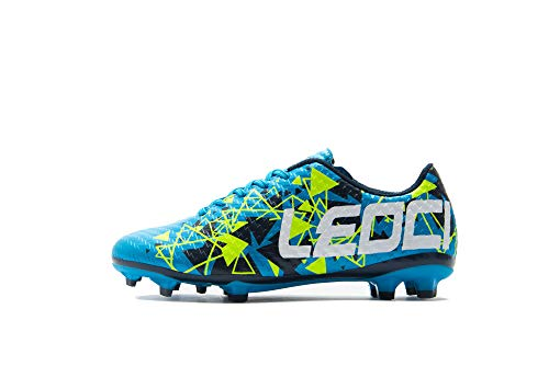 LEOCI Soccer Shoes - Athletic Football Shoes for Men and Boy Outdoor Soccer Shoes (10.5 D(M) US, Moon)
