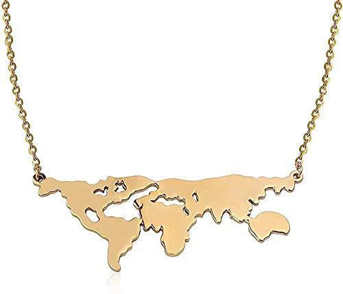 YOUZYHG co.,ltd Gran Mapa del Mundo Collares Pendientes Collar de Cadena Larga de Acero Inoxidable joyería de Viaje