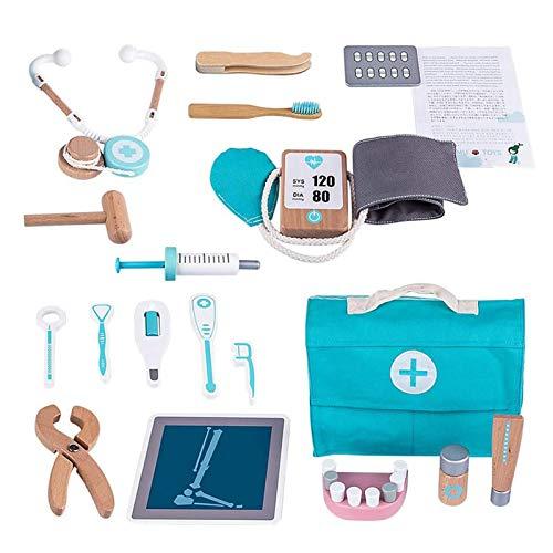 17 Stück Kinder Holz Arztkoffer Spielzeug, Doktorkoffer zum Rollenspiel, Arzt Medizinisches Spielset Spielzeug Kinder, Arzt Set Kinder ab 3 Jahre