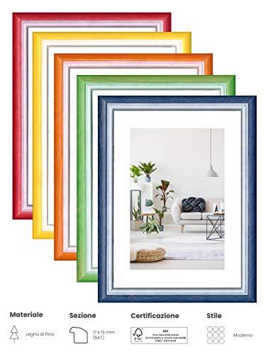 eacommerce Cornice Colorata per Foto Stampe da Parete e da Tavolo MOD. Rainbow in Legno di Pino Colori Assortiti (Verde, 30x40 cm)