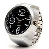 GoodsLand 【 フリーサイズ 】 指輪 時計 リング ウォッチ 文字盤 アナログ ジュエリー シンプル 丸型 GD-RINGWT-BK