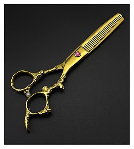 Cizalas de corte de pelo Conjunto de tijeras de peluquería dorada de 6 pulgadas, tijeras de peluquería y tijeras de adelgazamiento Tijeras de peluquería decorativa (Color : Thinning only)