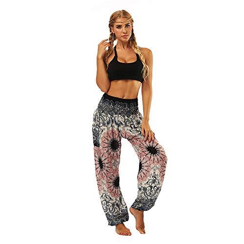 SAINDERMIRA vrouwen Thais ontwerp Print gerookte taille Harem broek Boho Yoga broek