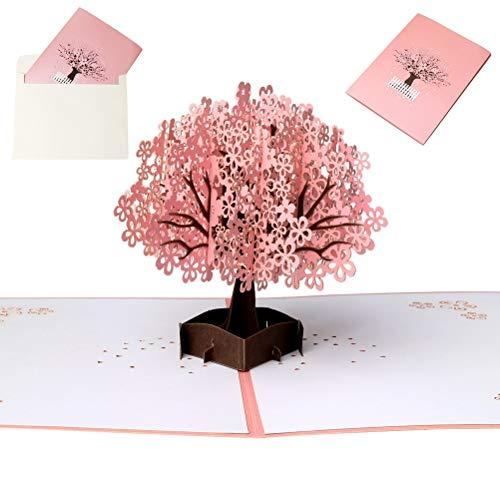 Pop Up Carte 3D, Gagawin Carte de Voeux Anniversaire Invite Mariage 3D Arbre Sakura Carte Amour pour Fete Saint Valentin Enveloppe Noel
