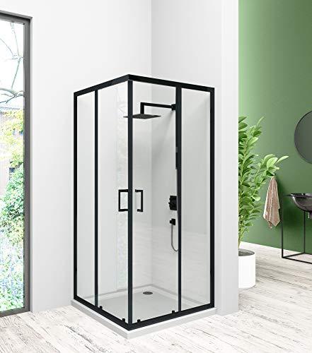 Duschkabine/Duschabtrennung Doppel Schiebetür Eckeinstieg Duschkabine, Schiebetür Duschabtrennung Duschwand,Duschabtrennung-glas (80x80x185 cm)