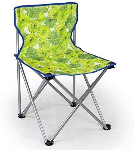 Silla plegable, liviana y duradera, silla plegable portátil para barbacoa, conveniente asiento autónomo portátil para viajes, pintura, metro, asiento pequeño (color: flores verdes, tamaño: 45 * 45 * 7