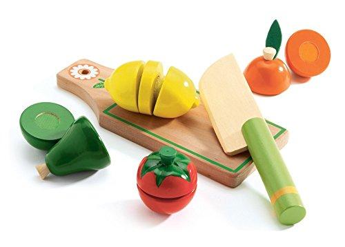 Djeco DJ06526 Planche à découper en Bois avec Couteau, Fruits et légumes Multicolore