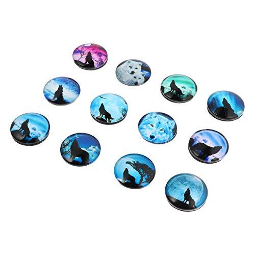 SOLUSTRE 12 unidades de cabujones de cristal para frigorífico, diseño de lobo, semicircular, planos, para frigoríficos, armarios de oficina, pizarras blancas, mixtas