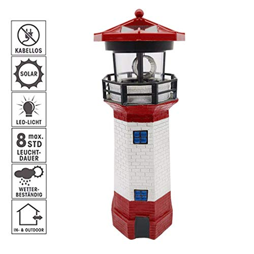 Solar Garden Lights Outdoor Decorative Red Lighthouse LED Lights Waterproof Solar Stake Lights with with Rotating Lamp for Garden Patio Backyard Decorations (Red-White, 11.5 Inch Tall)