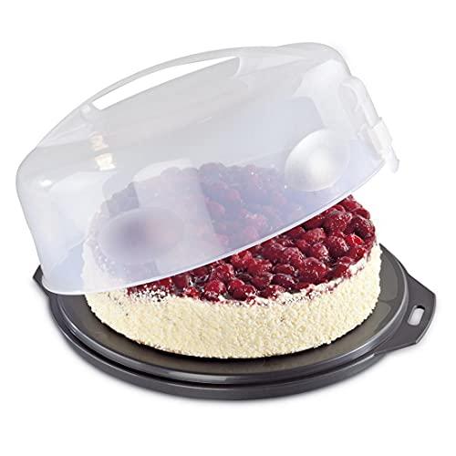 Xavax 00111514 - Recipiente para conservar y transportar tartas, Antracita/Transparente, Ø 31.5 cm