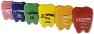 Polyester Dental Floss Has More Cleaning Features Compare to Nylon, Assorted Colors, Tooth Shape Design Container, 12 Meter, Box of 72, by Vivid