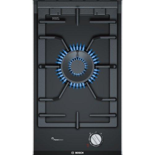 Bosch PRA3A6D70 Serie I 8 - Placa de cocina de gas de 30 cm de ancho, tecnología FlameSelect, cristal vitrocerámico y parillas de hierro fundido, apta para gas natural o gas butano, color negro