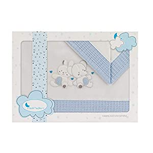 Sabanas Cuna 60×120 algodon 100% – (bajera+encimera+funda almohada) (A 1 Paracaidas Azul)