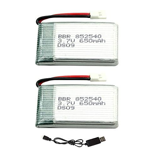 ZGHD RC Drone Batería, 3.7V 650Mah Lipo batería 2pcs y cable de carga USB para RC Drone Heliway Piedra Santa