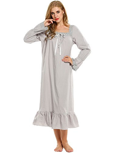 Avidlove Damen Kleid Nachthemd Schlafanzüge Nachtwäsche Negligees Langarm/Kurzarm Kurz Absatz/Lang Absatz Dessous Baumwolle Reine Farbe, B Langarm,grau Lang, XS