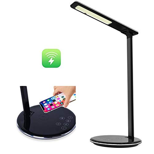 ETOBESY LED Desk Lamp Qi Wireless Charger Pad with USB Charging Port, Bedside Table Lamps, 4 Lighting Colors & 5-Level Dimmer & Timer Poweroff (Black, with Charging Receiver for iPhone 5/6/6S/7 Plus)