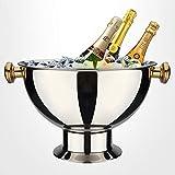 Grande Vasque à Champagne en Acier Inoxydable-5 à 6 Bouteilles Ice Bucket pour dîner, fête, Barbecue, Bar, KTV Φ:38cm H: 27cm
