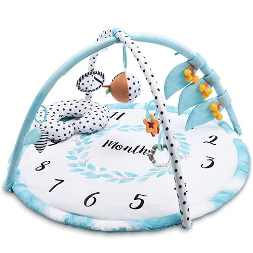 Lupantte Krabbeldecke für Baby mit 9 Spielzeug, Babys Meilensteine in Wachstum, Spieldecke mit Spielbogen, Baby Meilenstein Decke Fotodecke, Frühkindliche Bildung und Aufklärung, Baby Monats Decke