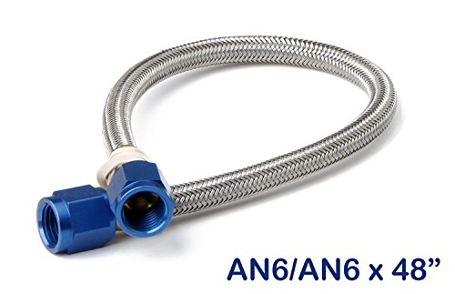 NOS 15420 Stainless Steel 4' Braided Hose with -6AN Blue Fittings