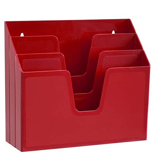 Acrimet Organizador Horizontal de 3 Compartimientos Para Escritorio o Pared (Color Rojo)