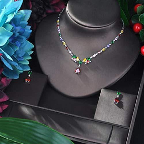 YRCBQJBE Elegant Water Drop Pendant Jewelry Set for Young Woman Gift Hotsale Fashion Jewelry Zirconia Women's Jewelry (Color : Silver)