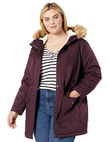Levi's Women's Performance Sherpa Midlength Parka Jacket, Plum/Poly Twill Lining, X-Large