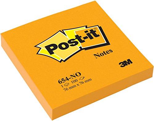 Post-it® 654NOR Haftnotizen 6 Blöcke à 100 Blatt, neonorange (76 x 76 mm) neonorange