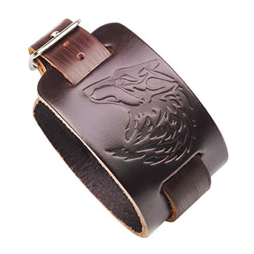 Hsumonre Punk Wide Leather Bracelet Wolf Wristbands for Men Retro Handmade Rock Cuff Belt Hip Hop Black Brown Adjustable