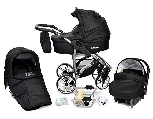 Allivio - 3 in 1 Reisesystem einschließlich Kinderwagen mit schwenkbaren Rädern, Kinderautositz, Buggy und Zubehör, Schwarz