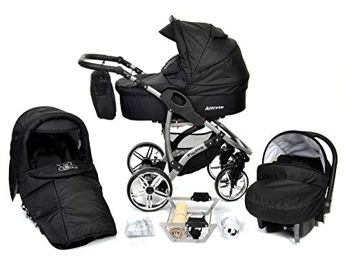 ALLIVIO, 3-in-1 Travel System with Baby Pram, Car Seat, Pushchair & Accessories (3in1 Travel System -Baby tub, Sport seat, Car seat, Black)