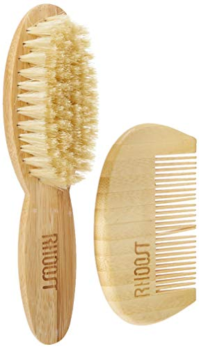 Rhoost Natural Bamboo Wooden Hair Brush and Comb Set. Suitable for Newborns, Infant & Toddlers. Soft Gentle Bristles for Cradle Cap