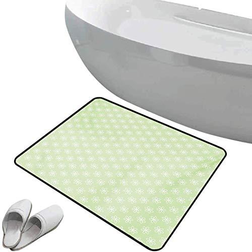 Tapis de bain antidérapant Floral Tapis de bain antidérapant doux zone sûre Conception de fleurs de printemps sur l'axe oblique avec un fond vert,gris clair noir, Paillasson Chambre Salon Cuisine Déco