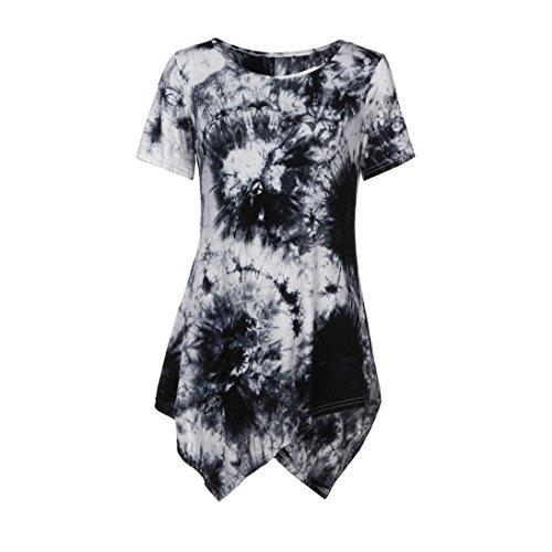 VEMOW Sommer Frauen Damen Casual T-Shirt Oansatz Bluse Ptinted Kurzarm Unregelmäßige Tops Plus Größe (44 DE/L CN, Weiß)