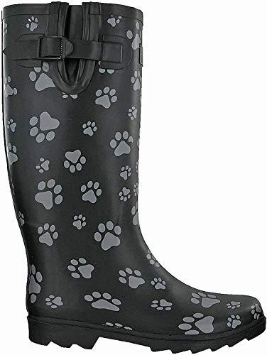 TOSH Gummistiefel für Damen mit Hundepfoten-Motiv, halb oder vollständig bedruckt, Schwarz, Schwarz - Hundepfoten-Gummistiefel - Größe: 41 EU