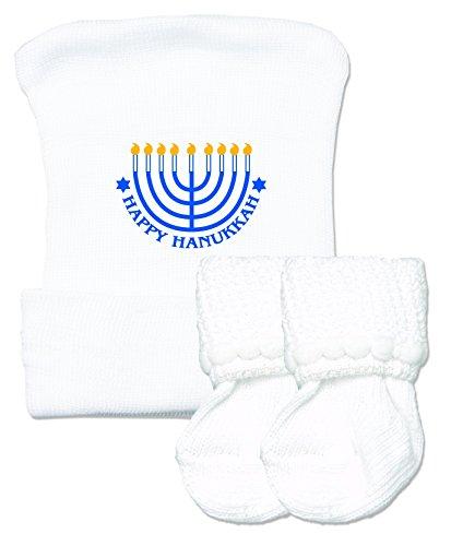 Happy Hanukkah Newborn Baby Hospital Hat and Sock Set by Nurses Choice