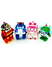 4-Pack Transformation Robocar Poli Robot Car Toy Action Figure