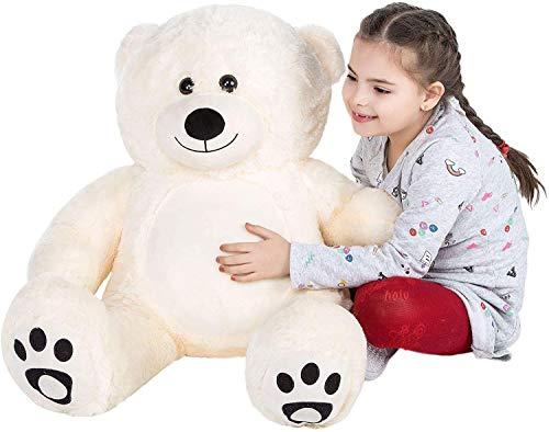 VERCART Giocattoli di Peluche Bambino Orsacchiotto Gigante Orso Bambola Morbida Regalo di Compleanno Natale Fidanzata Bianco 100CM