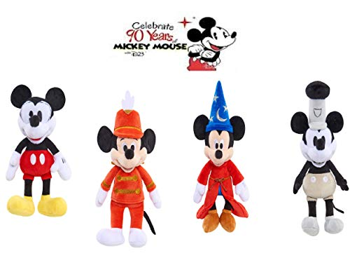 Set of 4: Disney 90 Year of Magic - APPR 8' Highly Collectible Plush- MICKEY MOUSE FULL SET (Steamboat Willie Mickey, Pie-Eyed Mickey, Sorcerer's Apprentice Mickey, and Mouseketeer Mickey)