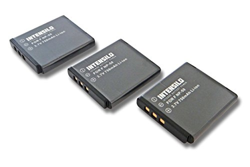 INTENSILO 3X Li-Ion Akku 750mAh (3.7V) für Kamera Camcorder Fuji Fujifilm FinePix F550 EXR, F600 EXR, F600EXR wie NP-50, D-Li122, GB-20.