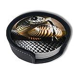 BJAMAJ - Posavasos de piel sintética de alta calidad, color negro, con juegos de soporte, apto para el hogar y la cocina (6 piezas)